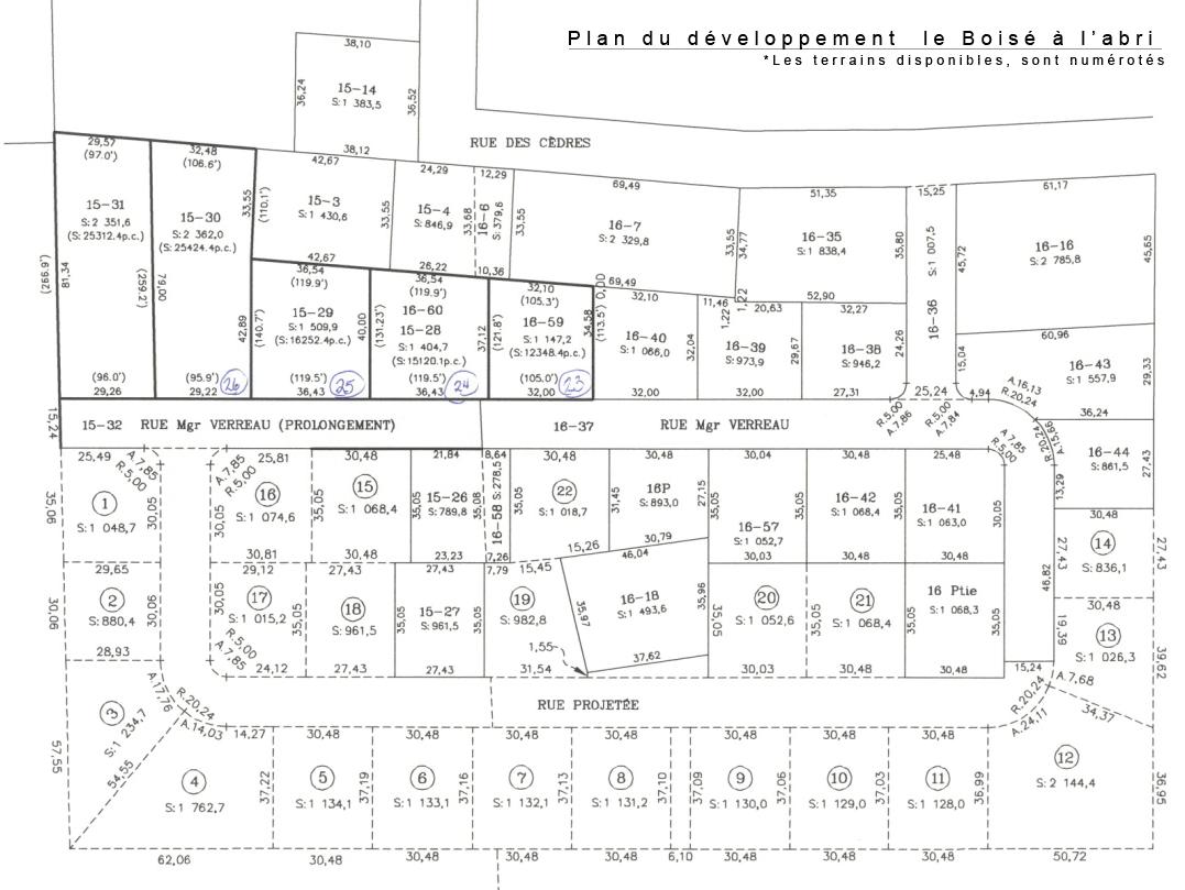 Plan du développement  le Boisé à l'abri (2010)