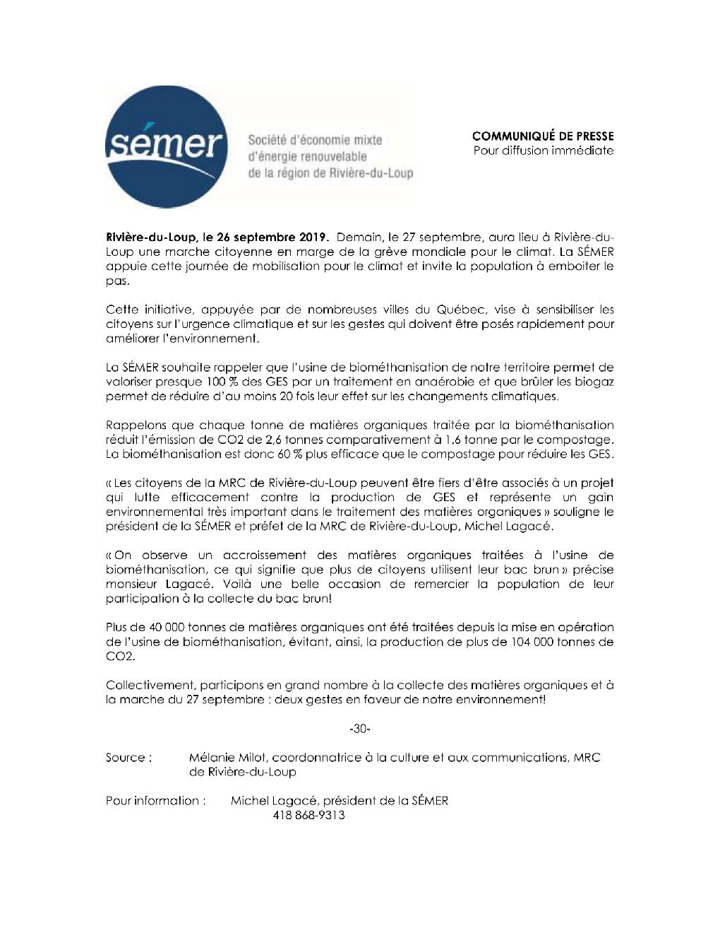 La SEMER appuie la marche citoyenne du 27 septembre 2019